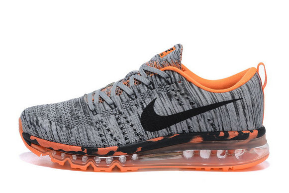 2015 Cheap Air Max Flyknit Grey Orange Black For Womens On VaporMaxRunning