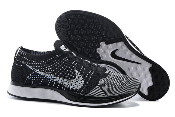 Womens Nike Flyknit Racer Black Grey White On VaporMaxRunning