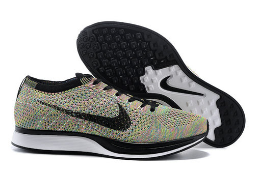 Womens Nike Flyknit Racer Colorful Black White On VaporMaxRunning