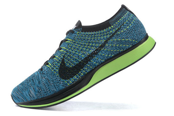 Cheap Nike Flyknit Racer Blue Grass Green Black On VaporMaxRunning