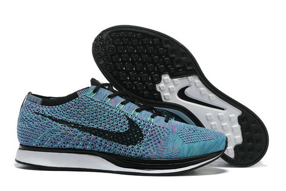 Cheap Nike Flyknit Racer Light Blue Black White On VaporMaxRunning