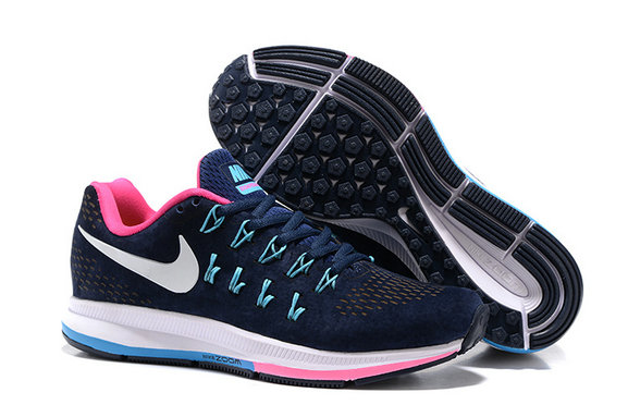 Cheap Nike Air Zoom Pegasus 33 Womens Pink Navy Blue White On VaporMaxRunning