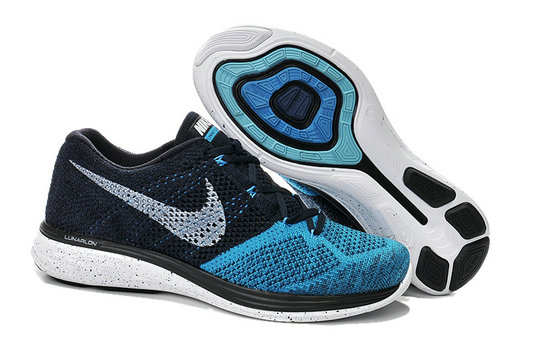 Cheap Nike Lunar 3 Flyknit Black Blue Grey White On VaporMaxRunning