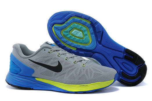 Cheap Nike LunarGlide 6 Grey Yellow Black Blue On VaporMaxRunning