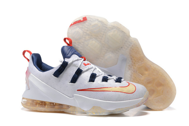 Cheap NikeLebronJames 13 Low Gold White Red Navy Blue On VaporMaxRunning