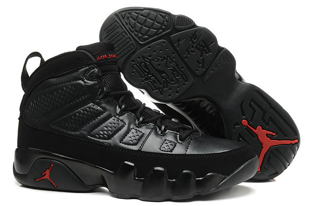 Cheap Women Air Jordan 9 Retro Black Fire Red On VaporMaxRunning