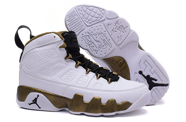 Cheap Women Air Jordan 9 Retro Gold White Black On VaporMaxRunning