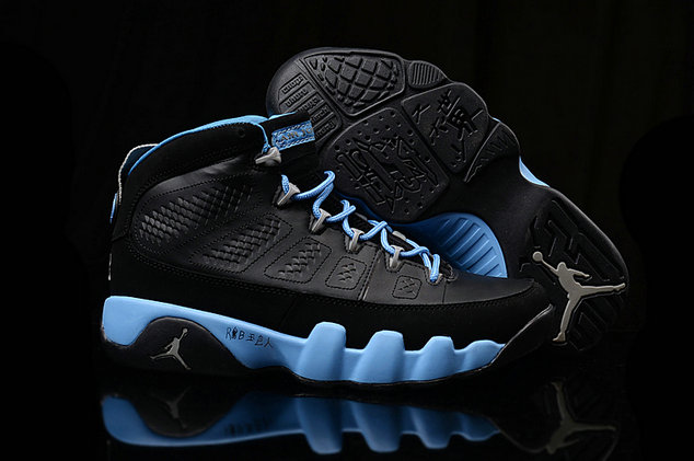 Cheap Women Air Jordan 9 Retro Light Blue Black On VaporMaxRunning
