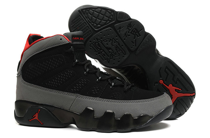 Cheap Women Air Jordan 9 Retro Red Grey Black On VaporMaxRunning