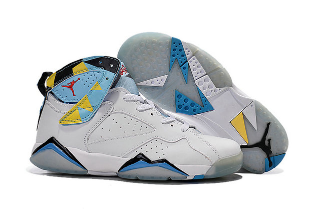 Cheap Air Jordan 7 Men Yellow Blue White Black On VaporMaxRunning