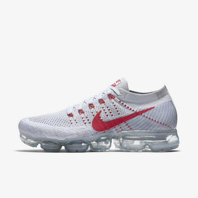 Cheap Nike Womens Flyknit Air VaporMax Red Grey Running Shoes On VaporMaxRunning