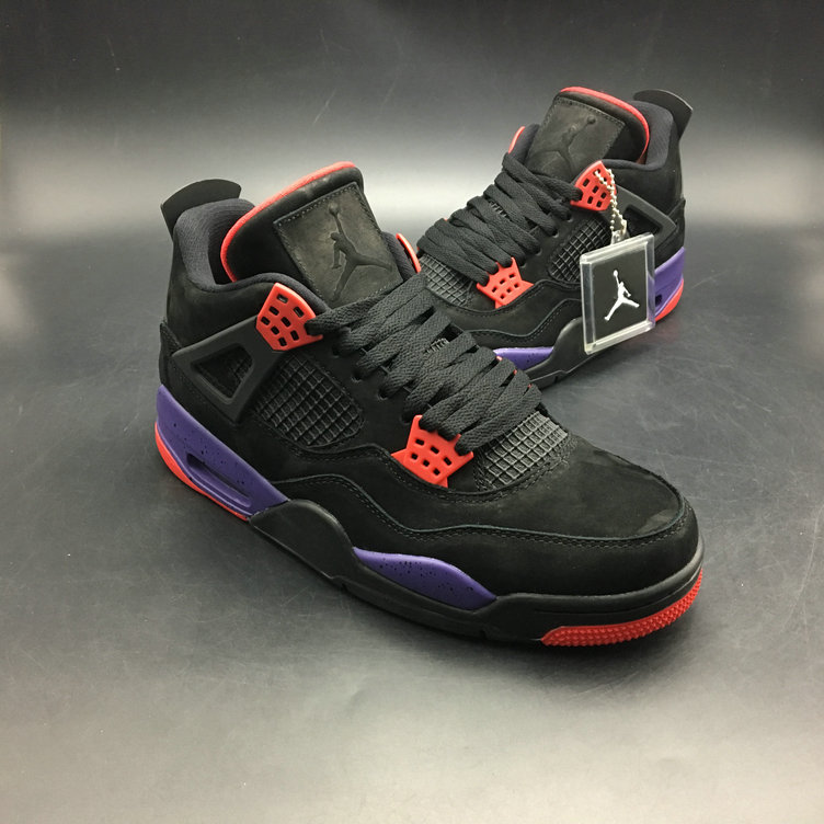 2018 Cheap Air Jordans Retro 4 Raptors AQ3816-056 Red Black Purple On VaporMaxRunning