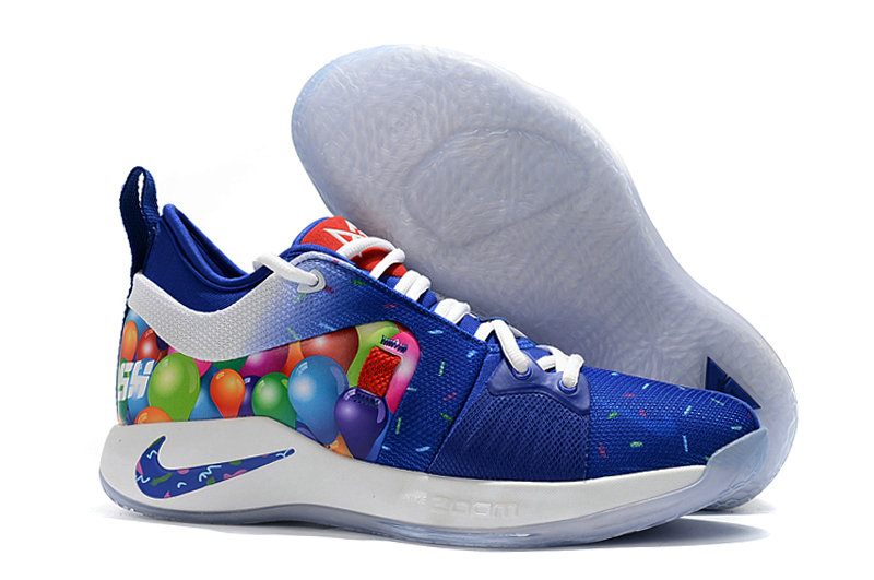 2018 Cheap Nike PG 2  Paul George Blue White Colorful On VaporMaxRunning