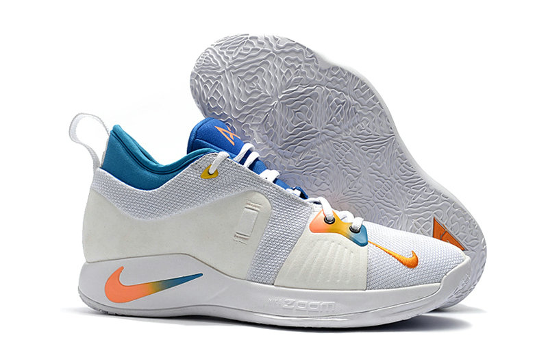 2018 Cheap Nike PG 2  Paul George White Orange Blue On VaporMaxRunning