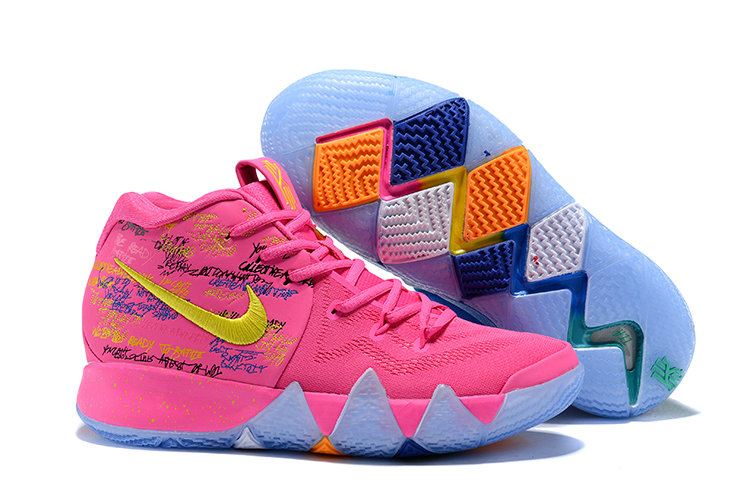 2018 Nike Kyrie Shoes x Cheap Kids Kyrie 4 What The Pink Teal Christmas On VaporMaxRunning