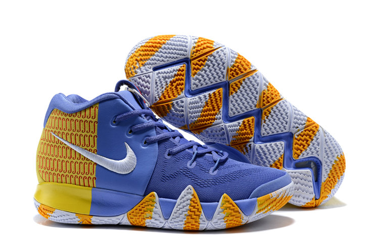 2018 Nike Kyrie Shoes x Cheap Nike Kyrie 4 London PE Yellow Blue Orange White On VaporMaxRunning