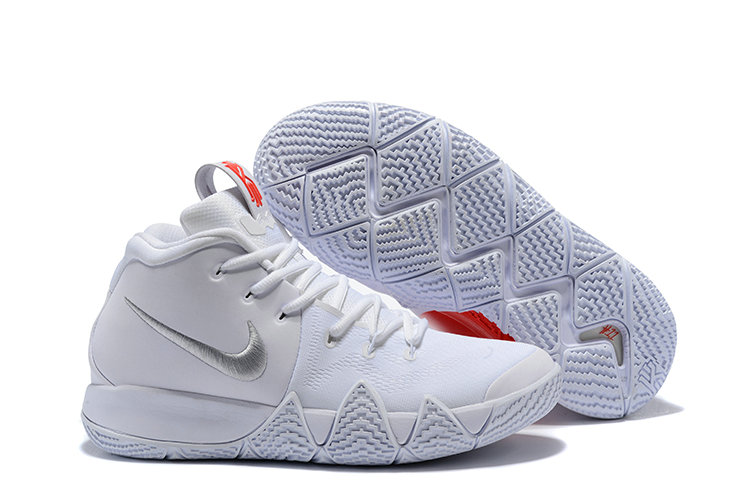 2018 Nike Kyrie Shoes x Cheap Nike Kyrie 4 Triple White Red Silver On VaporMaxRunning
