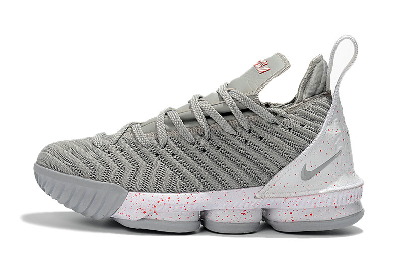 Cheap 2018 Latest Nike LeBron 16 Wolf Grey White-Red Mens Size For Sale On VaporMaxRunning