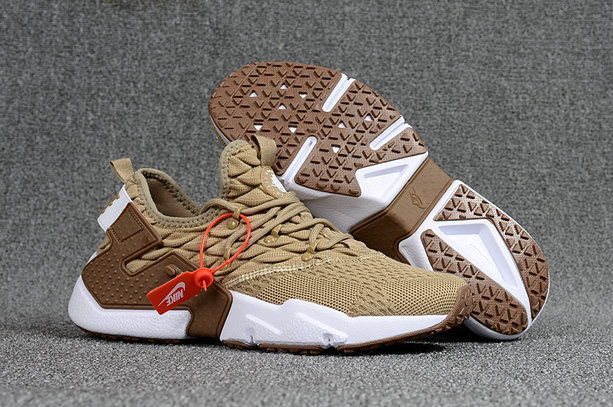 2018 Nike Air Huarache Flyknit 3D Mens Brown Cream White Cheap Sale On VaporMaxRunning