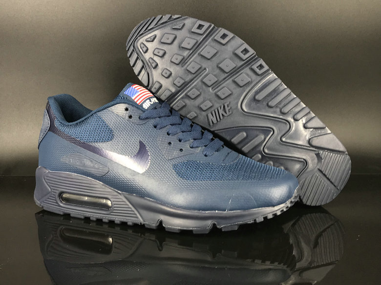 2018 Nike Air Max 90 Hyperfuse SneakerBoot Silver Blue Cheap Sale On VaporMaxRunning