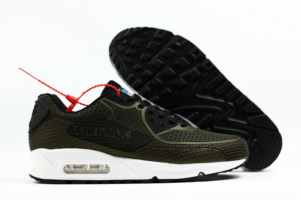 2018 Nike Air Max 90 SneakerBoot Army Green Black White Cheap Sale On VaporMaxRunning