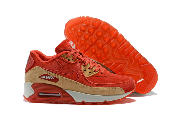 2018 Nike Air Max 90 SneakerBoot Red Gold White Cheap Sale On VaporMaxRunning