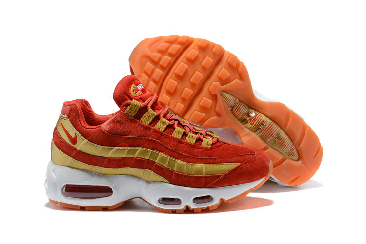 2018 Nike Air Max 95 SneakerBoots Red Gold White Cheap Sale On VaporMaxRunning