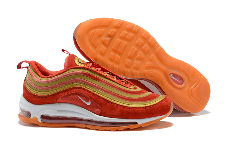 2018 Nike Air Max 97 SneakerBoots Red Gold White Cheap Sale On VaporMaxRunning