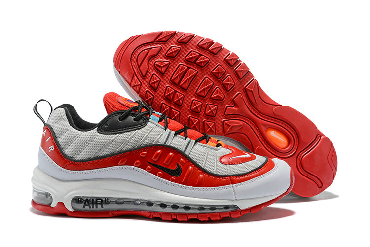 2018 Nike Air Max 98 Colorways Grey Fire Red Black Cheap Sale On VaporMaxRunning