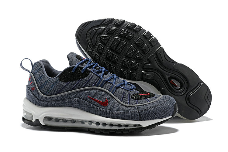 2018 Nike Air Max 98 Colorways Grey Red Blue Black Cheap Sale On VaporMaxRunning