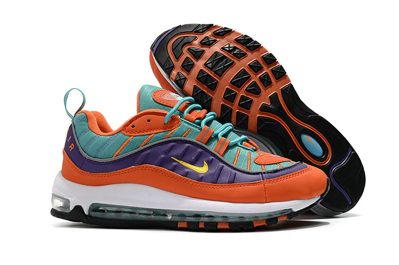 2018 Nike Air Max 98 Colorways Orange Purple Green White Cheap Sale On VaporMaxRunning