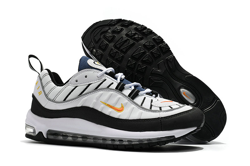 2018 Nike Air Max 98 Colorways White Black Gold Cheap Sale On VaporMaxRunning