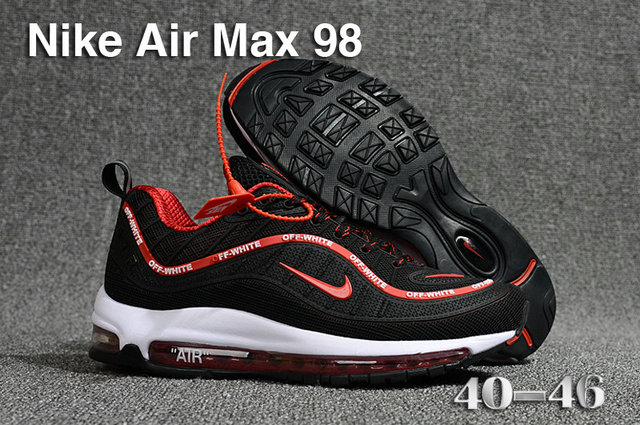 2018 Nike Air Max 98 QS Black Red White Cheap Sale On VaporMaxRunning