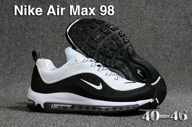 2018 Nike Air Max 98 QS Black White Cheap Sale On VaporMaxRunning
