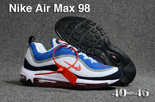 2018 Nike Air Max 98 QS Blue Black White Red Cheap Sale On VaporMaxRunning