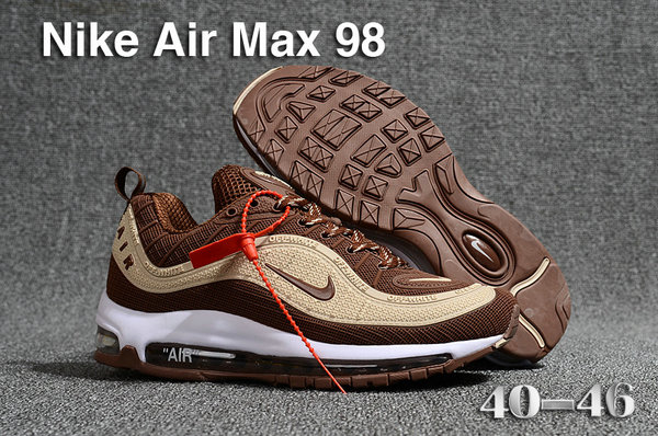 2018 Nike Air Max 98 QS Cream Brown Cheap Sale On VaporMaxRunning