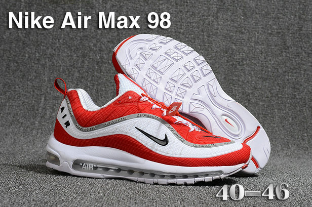 2018 Nike Air Max 98 QS Fire Red Black White Cheap Sale On VaporMaxRunning