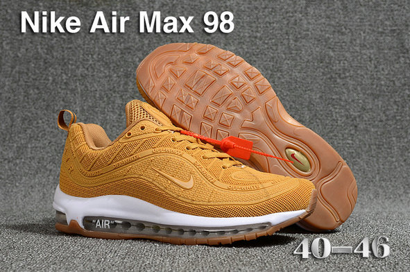 2018 Nike Air Max 98 QS Gold White Cheap Sale On VaporMaxRunning