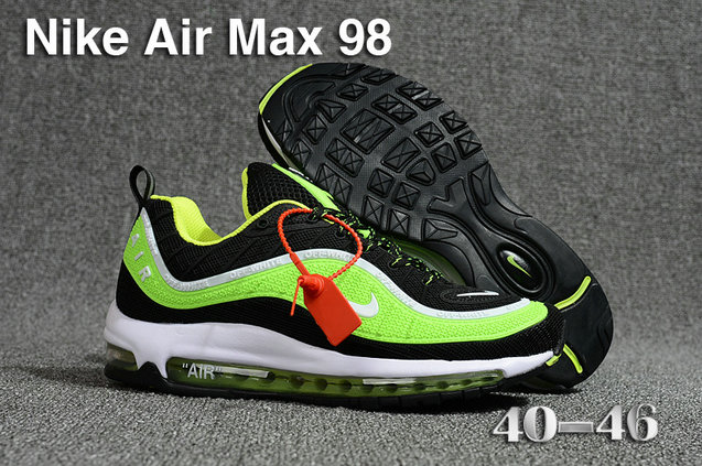 2018 Nike Air Max 98 QS Green Black White Cheap Sale On VaporMaxRunning