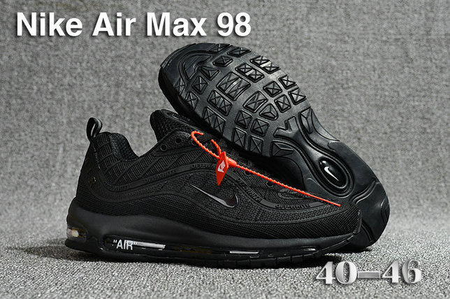 2018 Nike Air Max 98 QS Triple Black Cheap Sale On VaporMaxRunning