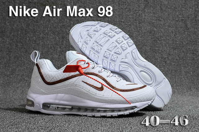 2018 Nike Air Max 98 QS White Brown Cheap Sale On VaporMaxRunning