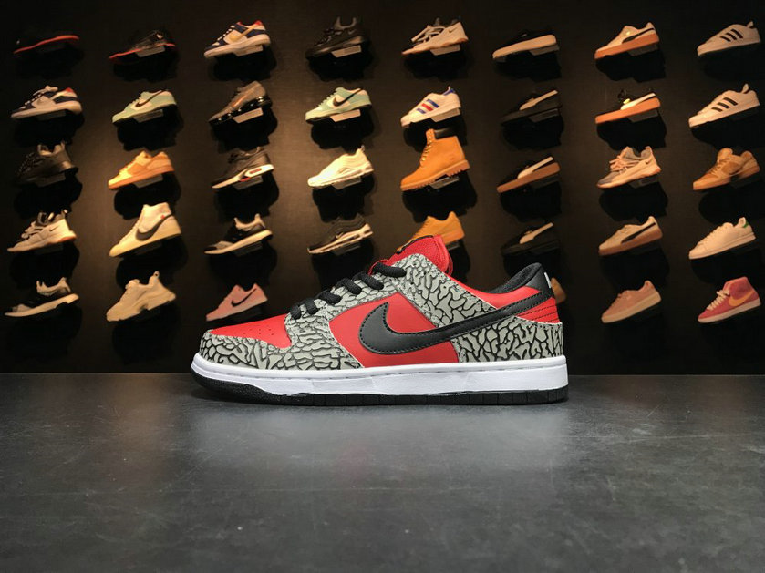 2018 Nike SB Dunk x Cheap Nike Dunk Low Premium SB Supreme Grey Red Black Gris Rouge Noir On VaporMaxRunning