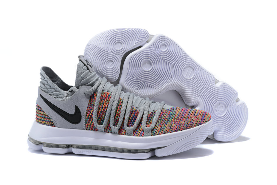 2018 Nike Kevin Durant x Cheap Nike KD 10 Multi-Color Black-Cool Grey-White On VaporMaxRunning
