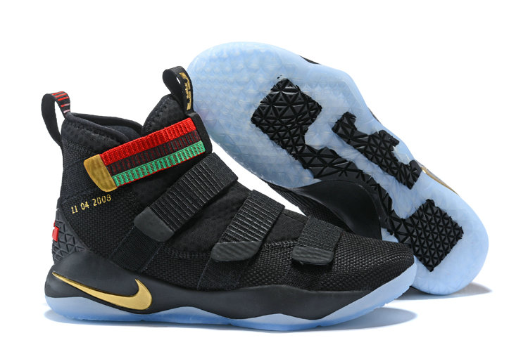 2018 Nike Lebron Soldier 11 XI Black Gold Red Green Cheap Sale On VaporMaxRunning