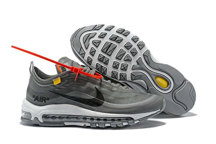 2018 Nike OFF-WHITE Air Max 97 SneakerBoots Wolf Grey Black Cheap Sale On VaporMaxRunning