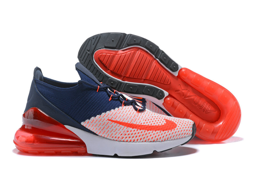 2018 Womens Nike Air Max 270 Flyknit Blue Red White Cheap Sale On VaporMaxRunning