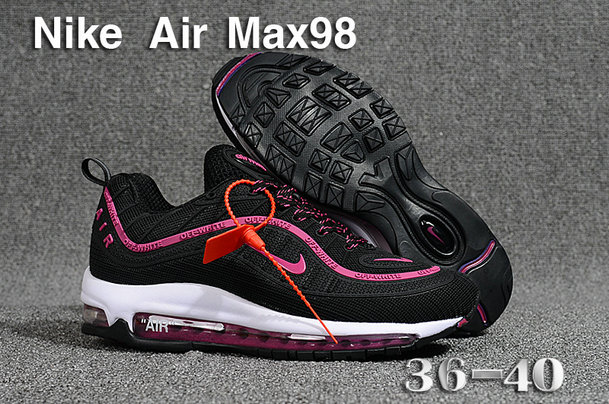 2018 Womens Nike Air Max 98 Ultra Black Purple Red White Cheap Sale On VaporMaxRunning