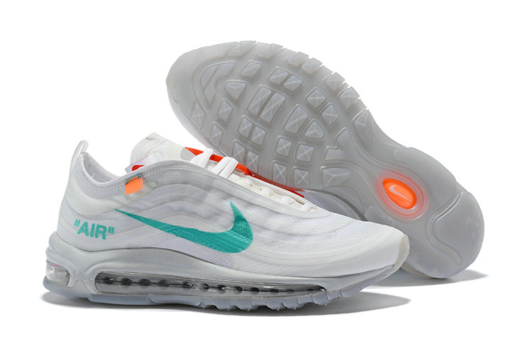2018 Womens Nike OFF-WHITE Air Max 97 SneakerBoots Green White Cheap Sale On VaporMaxRunning