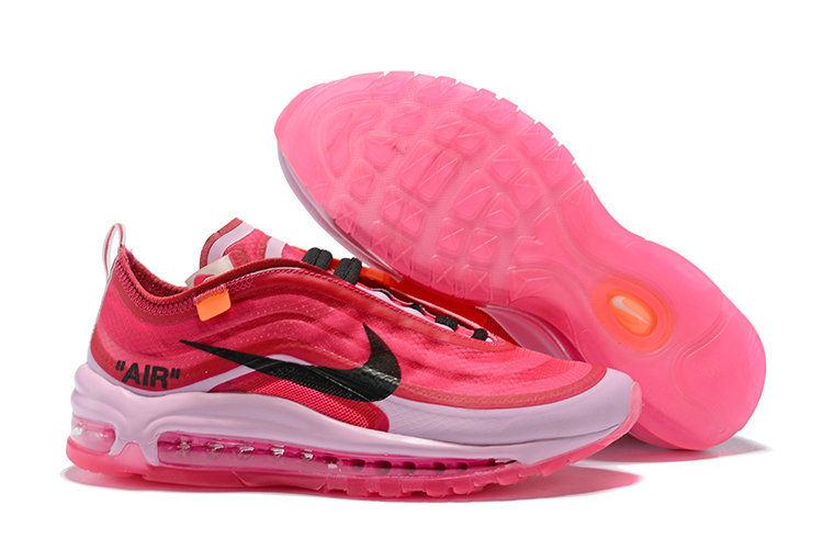 2018 Womens Nike OFF-WHITE Air Max 97 SneakerBoots Pink Red White Black Cheap Sale On VaporMaxRunning
