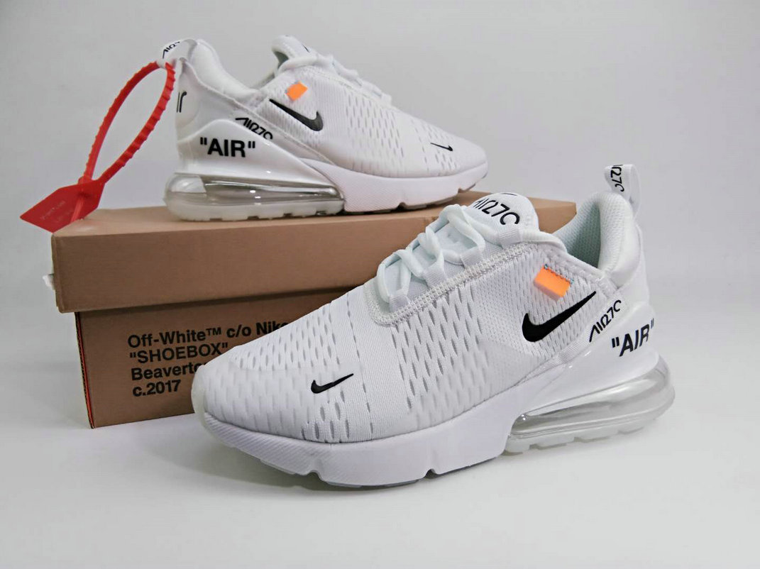 2018 Womens Nike The 10 OFF WHITE Air Max 270 Triple White